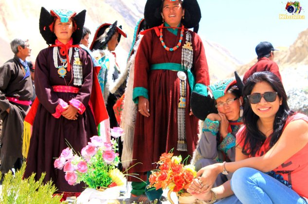 with ladakhi locals wearing their cultural dresses