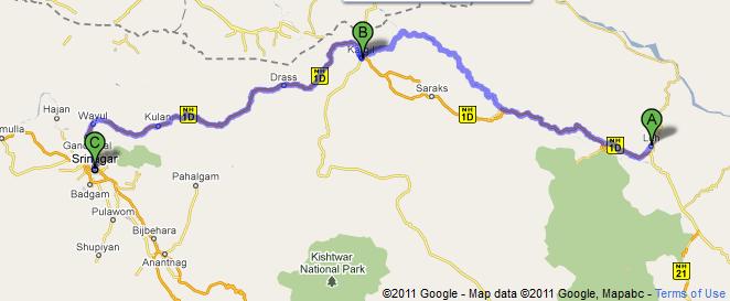MAP - Srinagar to LEH