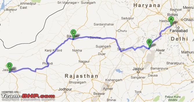 Map to Jaisalmer from delhi
